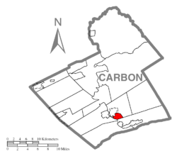 Location of Parryville in Carbon County