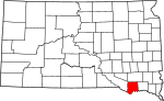 State map highlighting Bon Homme County