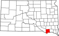 Map of South Dakota highlighting Bon Homme County.svg