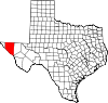 State map highlighting Hudspeth County