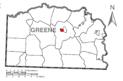 Map of Waynesburg, Greene County, Pennsylvania Highlighted.png