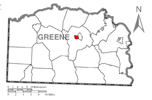 Map of Greene County higlighting Waynesburg.