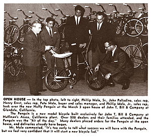 Wheelie bike - Open house for the Huffy Penguin on March 3, 1963