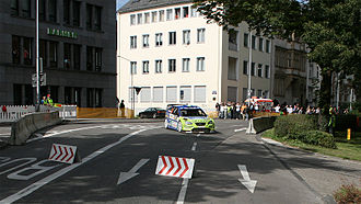 """Rallye Deutschland - Marcus Grönholm at the """"Circus Maximus"""" SSS of the 2007 rally."""