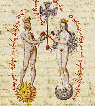 Crescent - Hierosgamos of Sun and Moon in a 16th-century alchemical manuscript