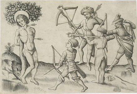 """Martyrdom of St Sebastian"", engraving by the Master of the Playing Cards, c. 1445 Martyrium des hl. Sebastian (Meister der Spielkarten).jpg"