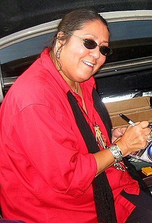 Grammy Award for Best Native American Music Album - Image: Mary signs a CD cropped