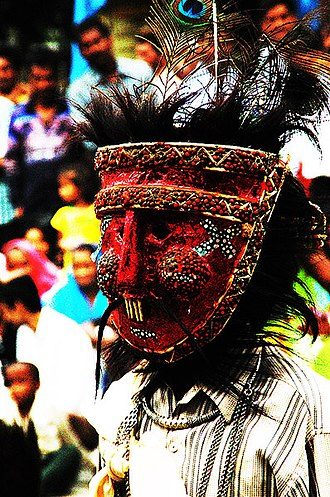 Gavari - Masked Gavari Budia figure from rural Jaisamand troupe