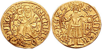 Matthias Corvinus - Matthias's golden florin depicting Madonna and Child, and King Saint Ladislaus