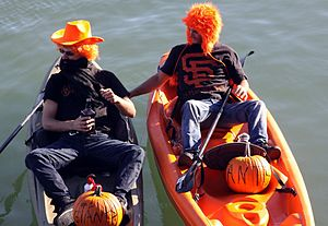 McCovey Cove - Giants fans on kayaks in McCovey Cove during the 2012 World Series