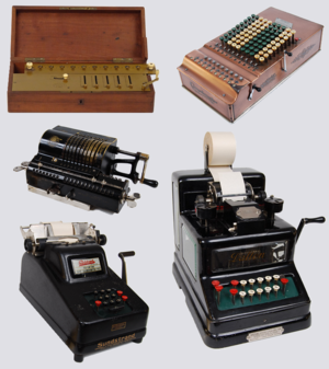 Mechanical calculator - Various desktop mechanical calculators used in the office from 1851 onwards. Each one has a different user interface. This picture shows clockwise from top left: An Arithmometer, A Comptometer, A Dalton adding machine, a Sundstrand and an Odhner Arithmometer