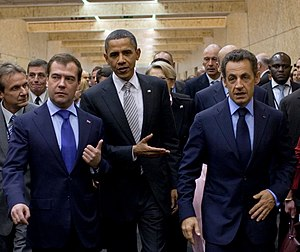 2010 Lisbon summit - Russian President Dimitry Medvedev, American President Barack Obama, and French President Nicolas Sarkozy on the summit's second day.