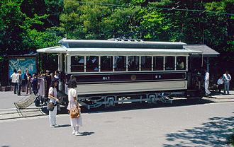 History of rail transport in Japan - A tramcar of the former Kyoto Electric Railway, now operating in the Meiji-mura open-air museum
