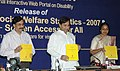 Meira Kumar and the Minister of State for Communications and Information Technology, Dr. Shakeel Ahmad at the release of Handbook on Social Welfare Statistics 2007, in New Delhi on March 12, 2008.jpg