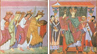 "Ottonian art - ""Roma"", ""Gallia"", ""Germania"" and ""Sclavinia"" pay homage to Otto III, from the Munich Gospels of Otto III, one of the ""Liuthar group"""