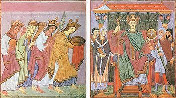 From Otto III's Gospel: The emperor enthroned by imperial princes and bishops, on the left Slavia, Germania, Gallia and Roma pay homage to him as representatives of the imperial concept, illumination from the Reichenau School, around 1000