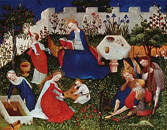 Panel painting - The Frankfurt Paradiesgärtlein, a German panel painting from circa 1410