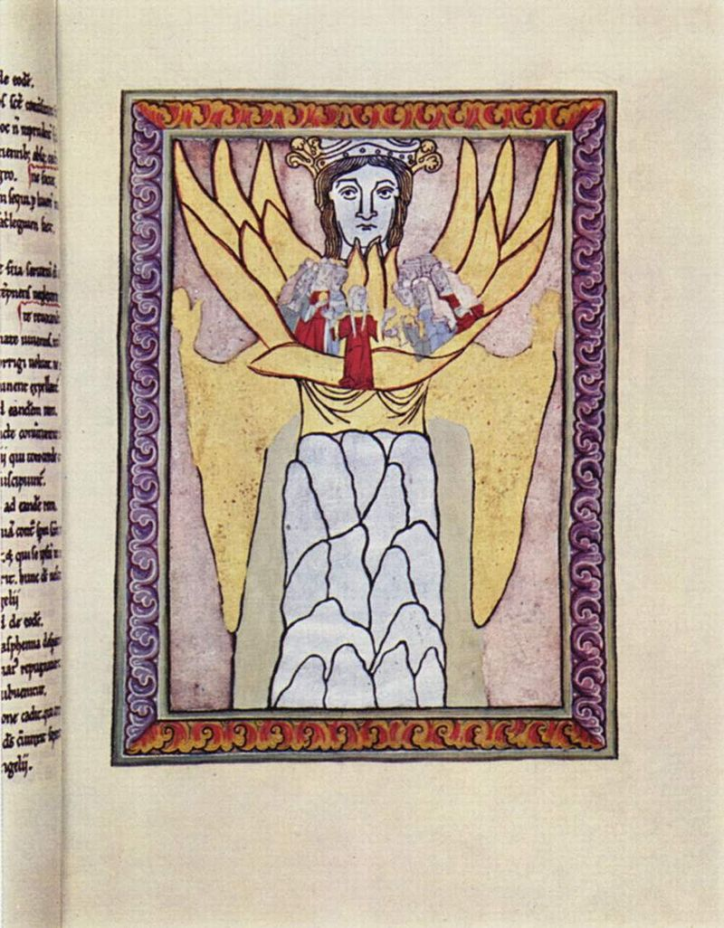 Artwork from a medieval codex depicting Hildegard of Bingen's vision of Ecclesia and Sophia.