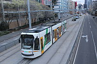 Melbourne University tram stop shunting area, looking south, 2013 (2).JPG