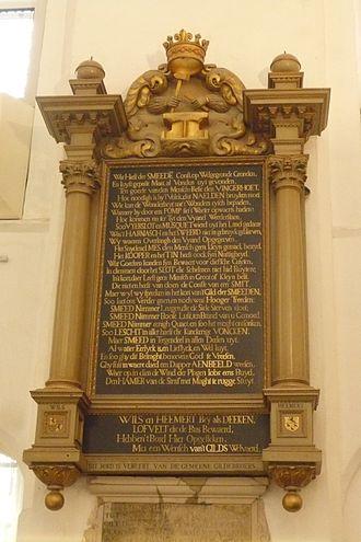 Utrecht Guild of Saint Luke - Plaque in memory of the Smith's guild in the Buurkerk (now the Museum Speelklok)