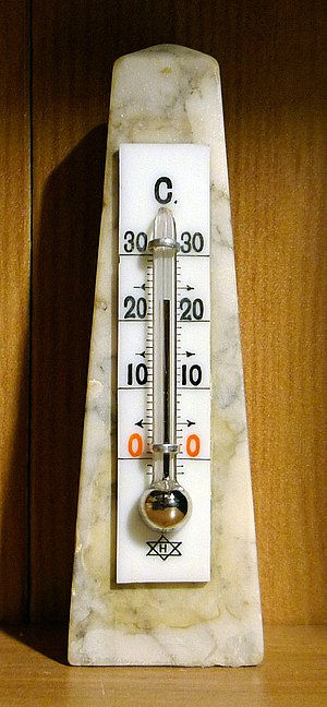 Mercury-in-glass thermometer - Mercury-in-glass thermometer for measurement of room temperature. Daniel Fahrenheit's mercury-in-glass thermometer was far more reliable and accurate than any that had existed before, and the mercury thermometers in use today are made in the way Fahrenheit devised.