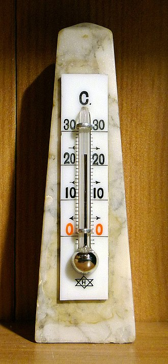 Room temperature - Mercury-in-glass thermometer showing an ambient temperature within the range of room temperature