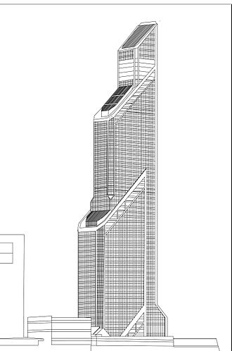 Mercury City Tower - Wireframe image of the tower