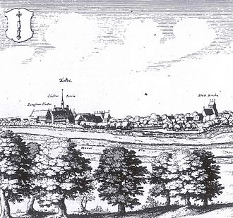 Zehdenick Abbey - Copper engraving by Merian, c. 1660; an idealised representation of the abbey is to the left