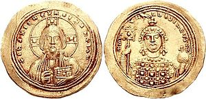 Michael IV the Paphlagonian - Histamenon from the reign of Michael IV. Facing bust of Christ Pantokrator (obverse) and facing bust of Michael, wearing crown and loros, holding labarum and globus cruciger (reverse).