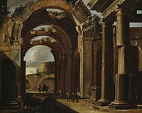 Michelangelo Cerquozzi (possibly) and Viviano Codazzi - Classical Ruins with the Colosseum in the Background.jpg