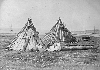 Cape Breton Regional Municipality - Mi'kmaq camp in Sydney, Cape Breton Island, Nova Scotia photographed by Paul-Émile Miot in 1857.