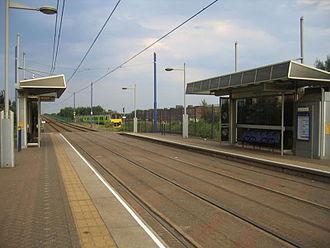 Handsworth Booth Street tram stop - The stop, looking towards Birmingham.