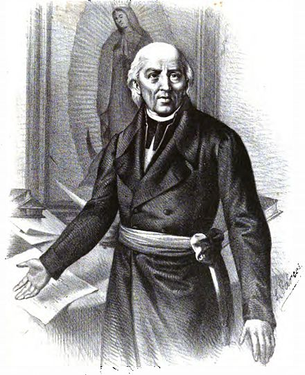 Portrait of Hidalgo as leader, in front of Our Lady of Guadelupe Miguel Hidalgo.jpg