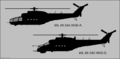Mil Mi-24A and Mi-24D side-view silhouettes.png