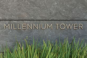 Millennium Tower (San Francisco) - Millennium Tower sign on the South facade