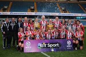 Sunderland A.F.C. Ladies - With the WSL 2 trophy in 2014