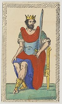 Minchiate card deck - Florence - 1860-1890 - Swords - 14 - King.jpg