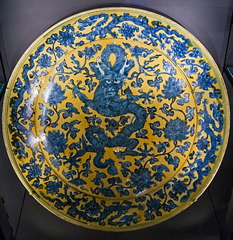 Ornament (art) - Ming dynasty Jingdezhen porcelain dish with dragon