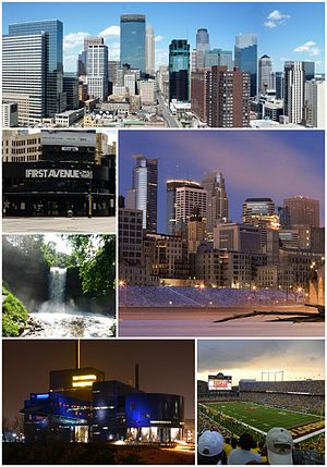 From top left: Downtown Minneapolis, TCF Bank Stadium, the Guthrie Theater, Minnehaha Falls, and First Avenue and 7th St Entry Nightclub