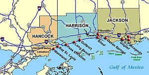 Pascagoula Abduction - Map showing coastal route US 90, connecting Pascagoula with Ocean Springs, Mississippi.