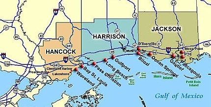 Location of Biloxi, Mississippi, east of Gulfport (center), on Gulf of Mexico.