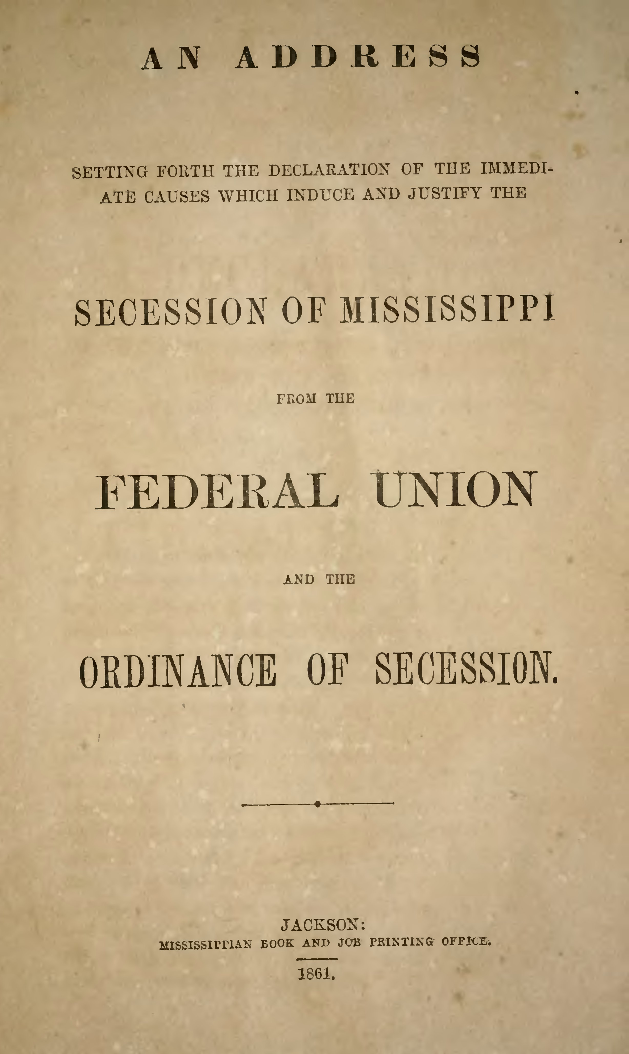 page mississippi declaration and ordinance of secession