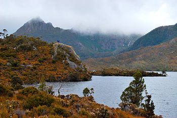 Cradle Mountain covered with could and Dove la...