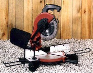 Circular saw - This miter saw is a circular saw mounted to swing to crosscut wood at an angle