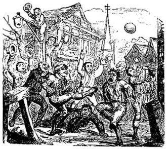 "Medieval football - An illustration of so-called ""mob football"", a variety of medieval football."