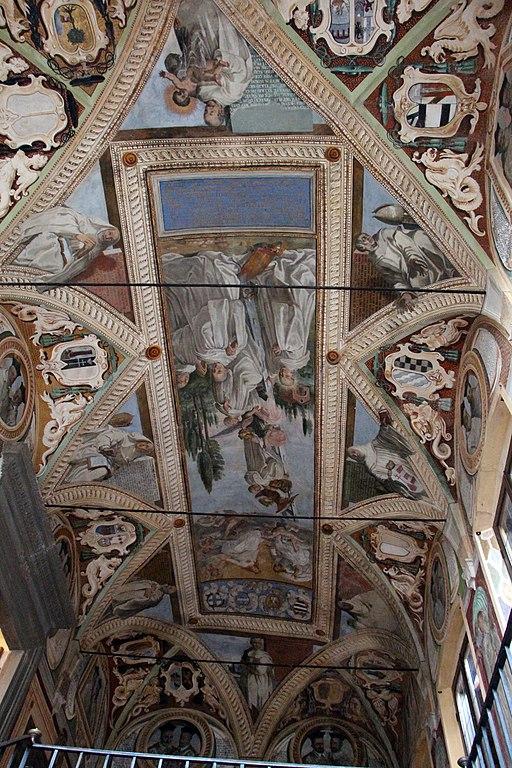 Monte Oliveto Maggiore, vestibolo della biblioteca, ilsoffitto con dipintidi Antonio Müller di Danzica (1631)