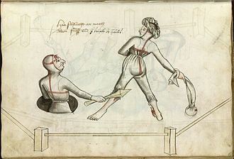 Trial by combat - Depiction of a judicial duel between a man and a woman by Hans Talhoffer (Ms.Thott.290.2º f80r, 1459)