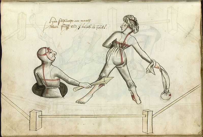 Illustration of a judicial duel between a man and a woman