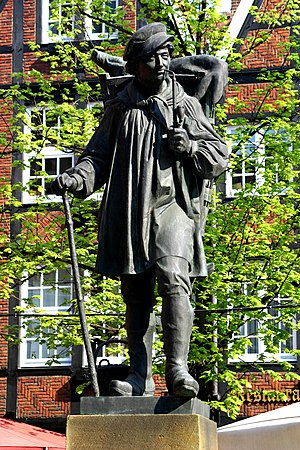 "Kiepenkerl - Original late 19th century model sculpture ""Kiepenkerl"" by August Schmiemann in Münster"