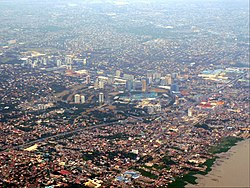 Aerial view of Muntinlupa, with Filinvest City in Alabang on the foreground